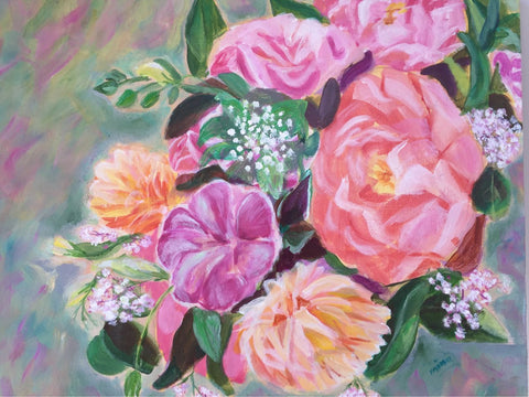 ORIGINAL HANDMADE BOUQUET OF PEONIES PAINTING