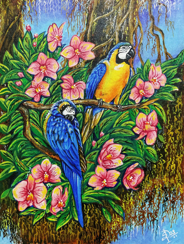 ORIGINAL HANDMADE PAIR OF PARROTS PAINTING