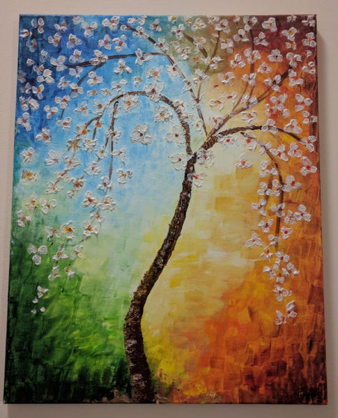 ORIGINAL HANDMADE COLORFUL BLOSSOM PAINTING