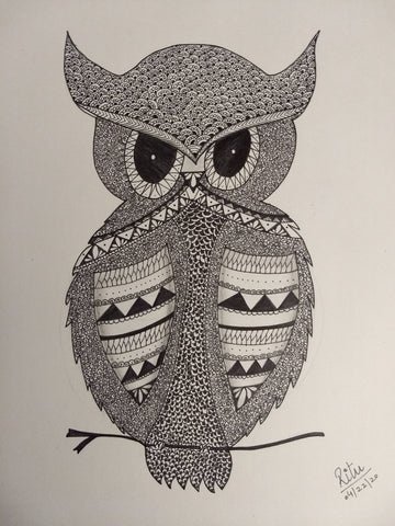 ORIGINAL HANDMADE OWL ZENTANGLE