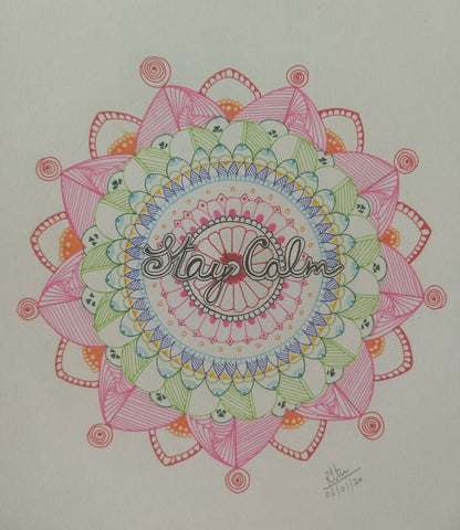 ORIGINAL HANDMADE COLORFUL STAY CALM MANDALA