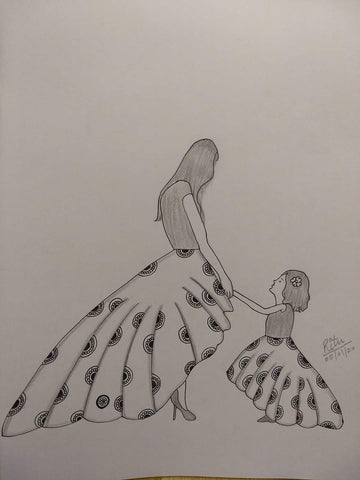 ORIGINAL HANDMADE MOM WITH DAUGHTER SKETCH