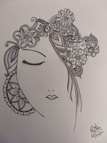 ORIGINAL HANDMADE BEAUTIFUL WOMAN FACE ZENTANGLE
