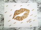 Original handmade golden lips on a canvas panel