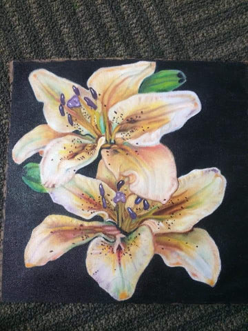 ORIGINAL HANDMADE LILY FLOWER OIL PAINTING