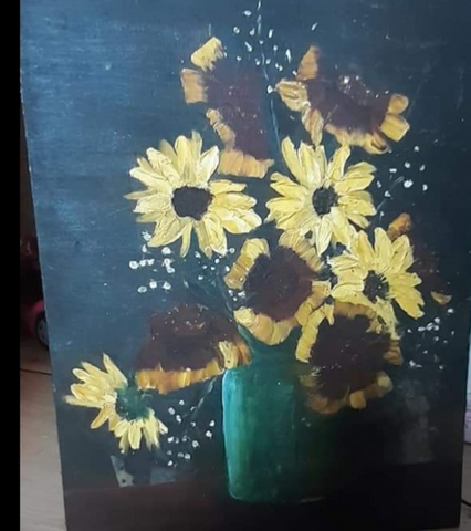 ORIGINAL HANDMADE SUNFLOWERS OIL PAINTING