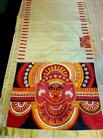 ORIGINAL HANDPAINTED KERALA TISSUE SAREE