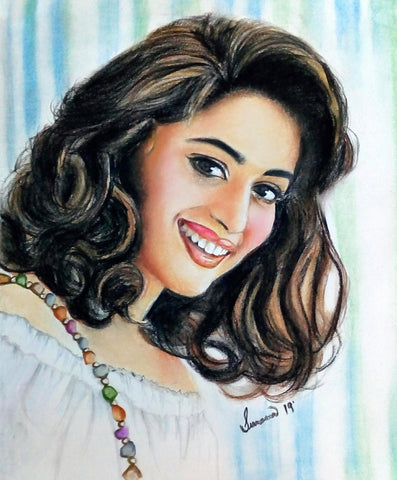 HANDMADE ORIGINAL COLOR PENCIL PORTRAIT - MADHURI