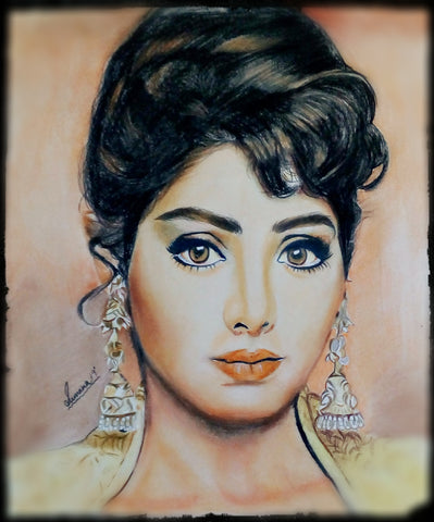 HANDMADE ORIGINAL COLOR PENCIL PORTRAIT - SRIDEVI