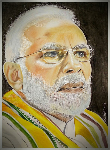 HANDMADE ORIGINAL COLOR PENCIL PORTRAIT - NARENDRA MODI