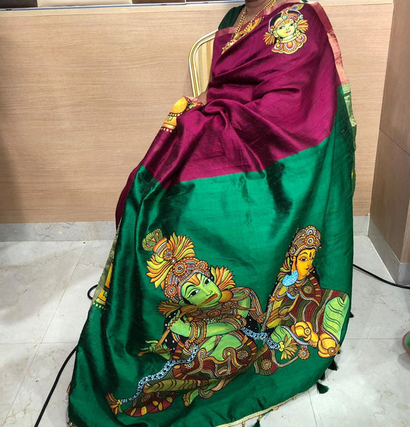 ORIGINAL HAND PAINTED KRISHNA HERITAGE SAREE