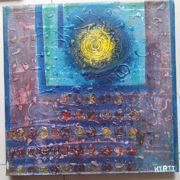 ORIGINAL HANDMADE BLUE RHYTHM PAINTING