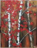 ORIGINAL HANDMADE AUTUMN TREES OIL PAINTING
