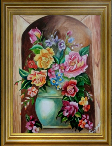 ORIGINAL HANDMADE FLOWERS IN VASE PAINTING
