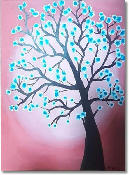 ORIGINAL HANDMADE BLOSSOMING TREE ACRYLIC PAINTING