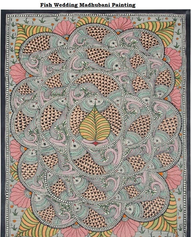 HANDMADE ORIGINAL FISH WEDDING MADHUBANI PAINTING