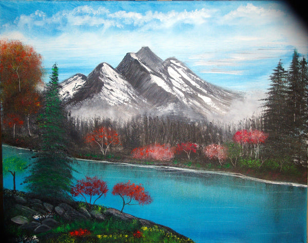 ORIGINAL HANDMADE FALL DOWN BY THE RIVER PAINTING