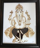 ORIGINAL HANDMADE GANESHA COFFEE PAINTING