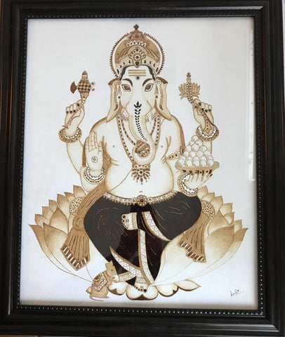 ORIGINAL HANDMADE GANESHA COFFEE WALL ART
