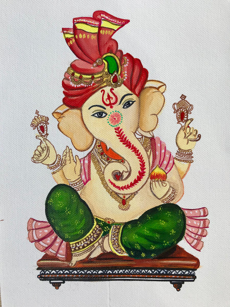 ORIGINAL HANDAMDE GANESHA ACRYLIC WALL ART