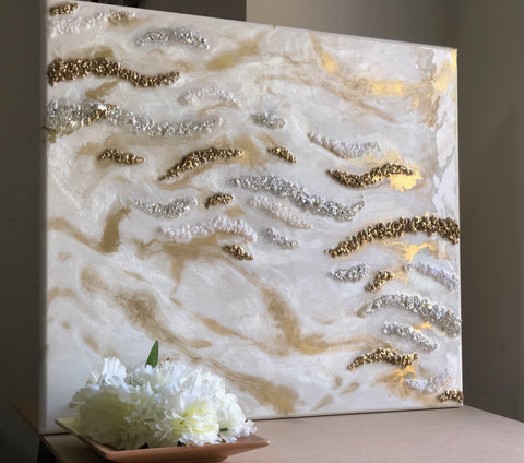 3D HANDMADE ABSTRACT GOLDEN RESIN WALL ART