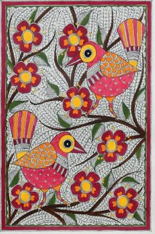 ORIGINAL HANDMADE BIRDS WITH FLOWERS MADHUBANI PAINTING
