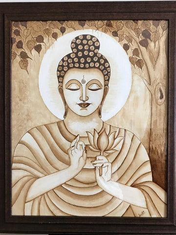 ORIGINAL HANDMADE BUDDHA COFFEE WALL ART