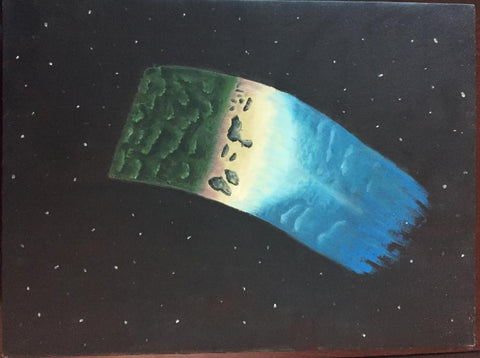 ORIGINAL HANDMADE EARTH IN SKY OIL CANVAS PAINTING