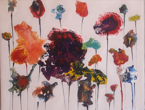 ORIGINAL HANDMADE COLORFUL FLORAL ACRYLIC PAINTING