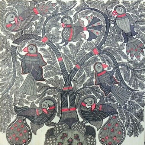 ORIGINAL HANDMADE PEACOCK STYLED TREE MADHUBANI PAINTING