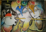 ORIGINAL HANDMADE RADHA KRISHNA PENCIL PORTRAIT