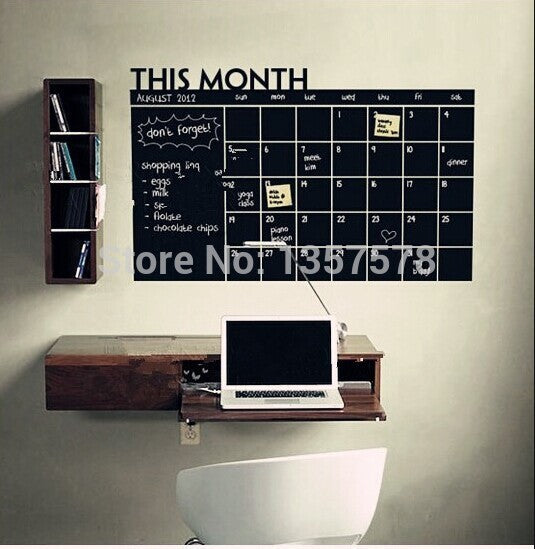 * Diy Monthly chalkboard calendar Vinyl Wall Decal Removable Planner mural wallpaper vinyl Wall Stickers 64*100CM office decor