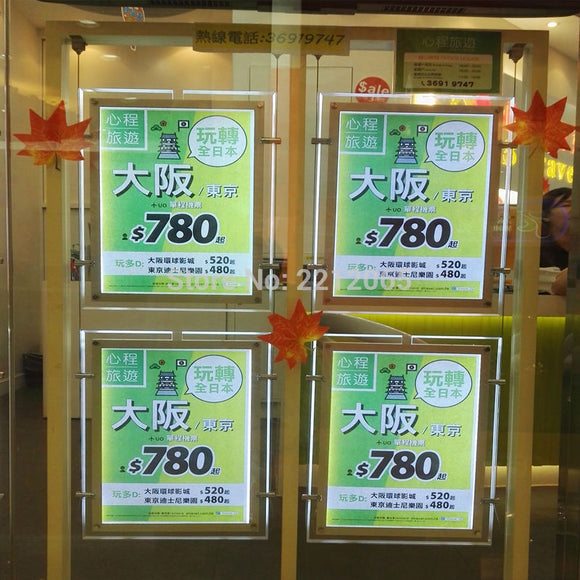 (Pack/4units) A4 Ultra Slim Double Sided LED Suspended Window  Signage Display Kits for Properties,Real Estate Agents