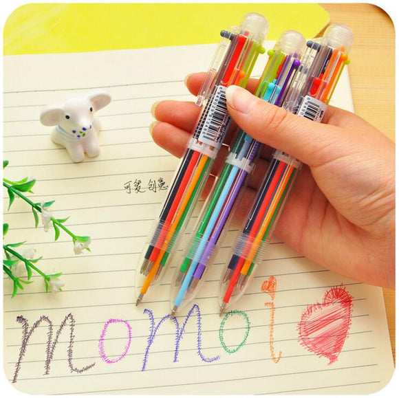 1 Piece Korean Stationery Cute Candy Color Pen Advertising Creative Bent School Office Ballpoint Pens 6 Colors