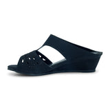 Grace Black Wedge Mules for Women - batabd
