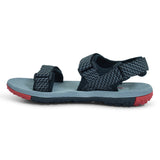 Power Buckle-Fastening Velcro Strap Sandal in Grey - batabd