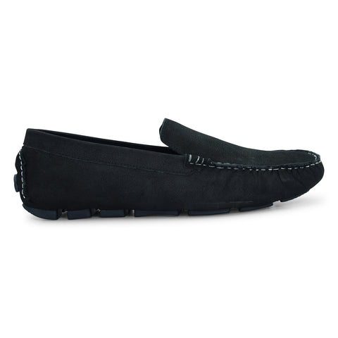 Men's Black Loafer Shoe in Nubuck Leather