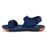 Power Buckle-Fastening Velcro Strap Sandal in Blue