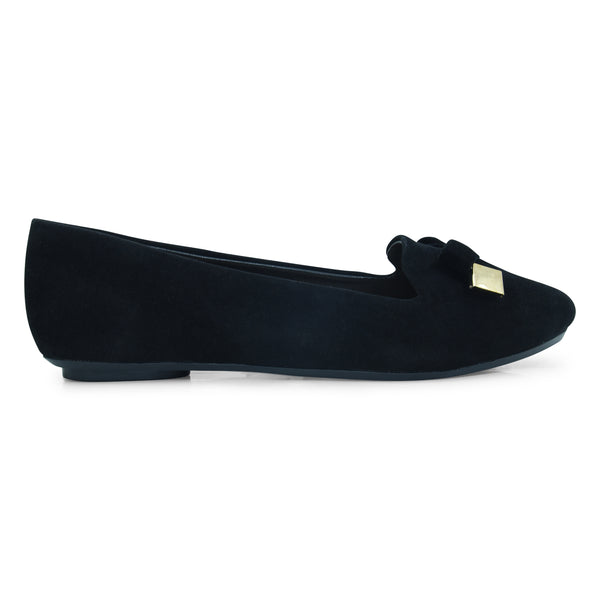 Black Suede Ballet Flat for Women - batabd