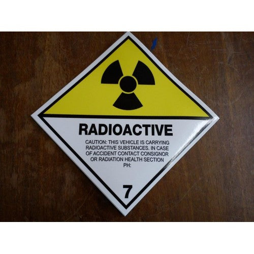 Radioactive Vehicle Sticker Sign