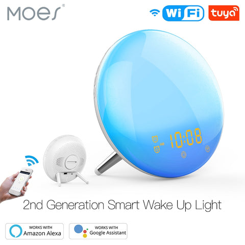 Moes Smart WiFi Wake Up Light Alarm Clock