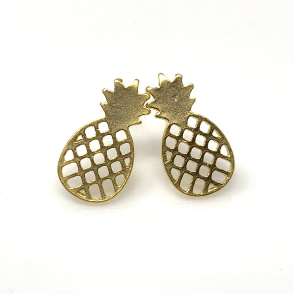 Hollow Pineapple Stud Earrings, Earrings - www.thestoneflower.com