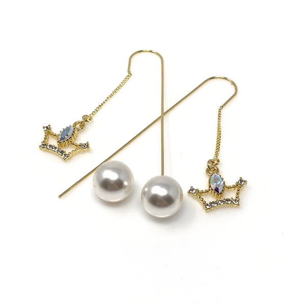 Crown Dangling Pearl Earrings, Earrings - www.thestoneflower.com