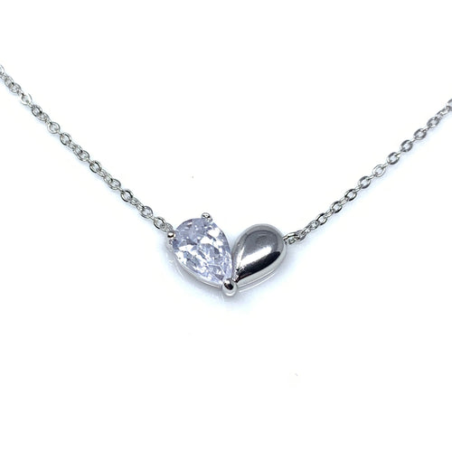 Half Crystal Hearts Pendant Necklace, Necklaces - www.thestoneflower.com