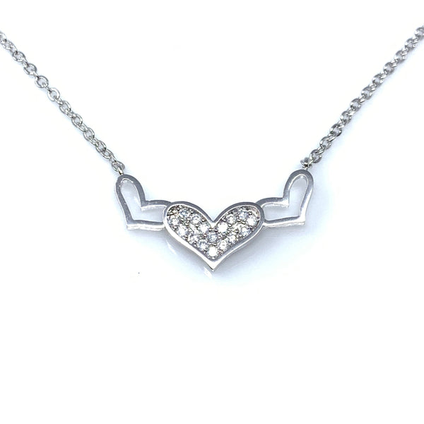 Triple Heart Symbols Pendant Necklace