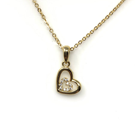 Crystal Hearts & Bow Pendant Necklace