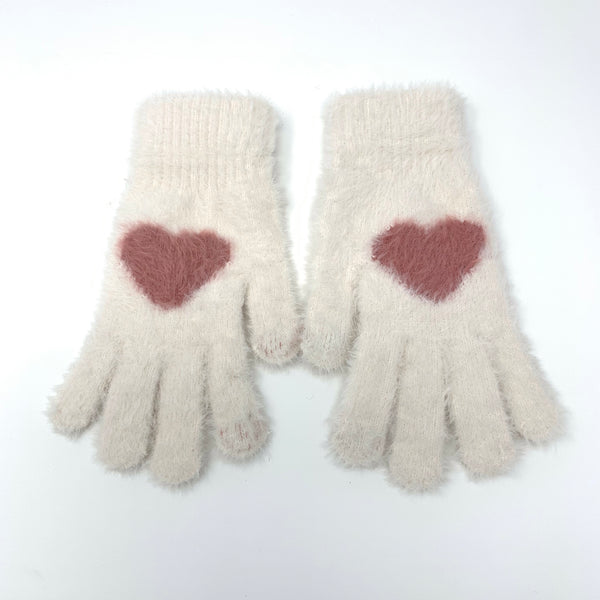 Big Heart Touchscreen Knitted Gloves, Clothing - www.thestoneflower.com
