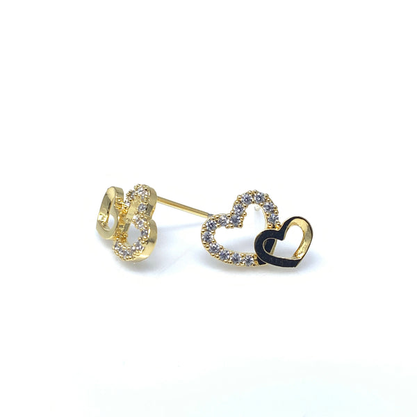 Crystal Gold Double Hearts Stud Earrings, Earrings - www.thestoneflower.com