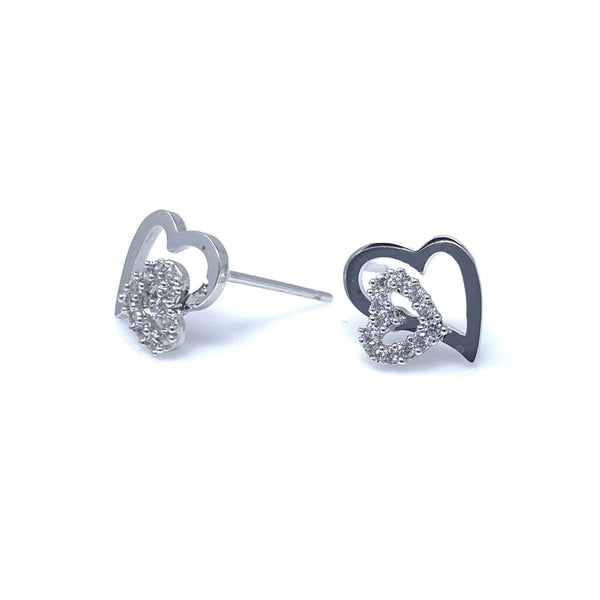 Crystal Double Hearts Stud Earrings, Earrings - www.thestoneflower.com