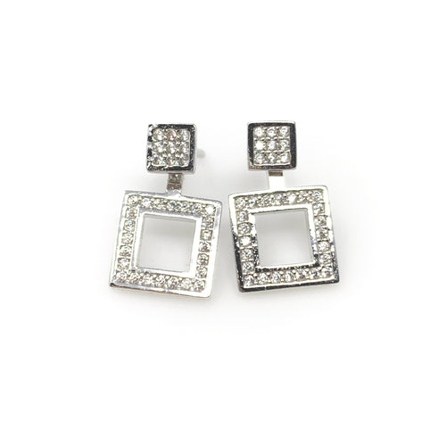 Square Crystal Post Earrings, Earrings - www.thestoneflower.com